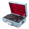 GPO Retro Attache Briefcase Style Three-Speed Portable Vinyl Turntable with Free USB Stick and Built-In Speakers - Sky Blue: Image 1
