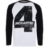 Uncharted 4 Men's Distressed 4 Long Sleeve Raglan Top - White/Black: Image 1