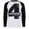 Uncharted 4 Men's Distressed 4 Long Sleeve Raglan Top - White/Black: Image 1