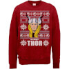 Marvel Comics The Mighty Thor Face Christmas Knit Red Christmas Sweatshirt: Image 1
