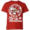 Nintendo Super Mario Merry Christmas White Wreath Kids' T-Shirt - Red: Image 1