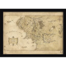 The Hobbit Middle Earth Map Framed Print (30x40) Multicolor