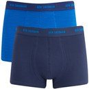 Ben Sherman Men's 2-Pack Ernie Trunks - Blue Stripe/Medieval Blue