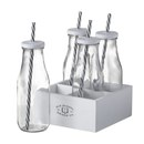 Milk Bottles with Straws (Set of 4) Claro