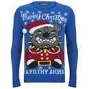 Conspiracy Men's Pitbull Christmas Jumper - Blue - L