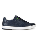 BOSS Green Mens Ray Check Leather Trainers  Dark Blue  UK 8
