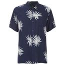 OBEY Clothing Mens Palm Fan Woven Short Sleeve Shirt  NavyWhite Print  S