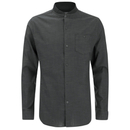 Brave Soul Men's Oakley Collarless Long Sleeve Shirt - Charcoal/Black - L Gris L