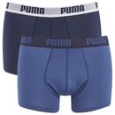 Puma Men's 2 Pack Basic Trunks - Navy/Royal - L