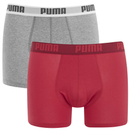 Puma Men's 2 Pack Basic Boxers - Red/Grey - S