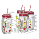 Smoothie Jars with Straws - Clear/Red (Set of 4) Claro