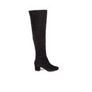Dune Womens Sanford Suede Thigh High Heeled Boots  Black  UK 5