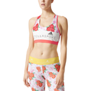 adidas Women's Stellasport Printed Gym Bra White-Pink M-UK12-14