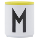 Design Letters Wooden Lid For Porcelain Cup - Yellow