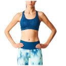 adidas Womens Print Training Racer Back Bra  Navy  SAB