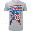 Marvel Men's Captain America Retro T-Shirt - Sports Grey