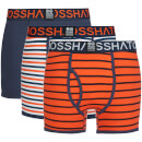 Crosshatch Men's 3 Pack All Sync Striped Boxers - Mood Indigo/Red Orange - L