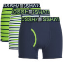 Crosshatch Men's 3 Pack All Sync Striped Boxers - Mood Indigo/Jasmine Green - L