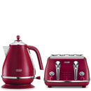 DeLonghi Elements Kettle and Four Slice Toaster  Red