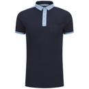 Brave Soul Men's Mozi Jersey Polo Shirt - Dark Navy/Sky Blue
