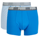 Puma Men's 2 Pack Stripe Boxers - Blue - M