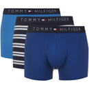 Tommy Hilfiger Mens Icon 3 Pack Stripe Trunk Boxer Shorts  Navy BlazerFrench BlueTrue Blue Stripe  S