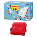 Nintendo 2DS White/Red + Tomodachi Life + Nintendo 2DS Carrying Case – Red