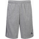 adidas Men's Essential 3 Stripe Fleece Jog Shorts - Grey - L
