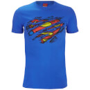 DC Comics Men's Superman Torn Logo T-Shirt - Royal Blue