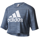 adidas Women's Aeroknit Boxy Crop Top Blue L