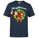 Nintendo Donkey Kong & Diddy Kong Merry Christmas Grote Kerstkrans Heren T-shirt Marineblauw XL Navy