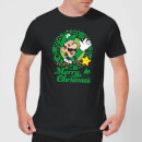 nintendo-super-mario-luigi-merry-christmas-wreath-t-shirt-schwarz-xxl-schwarz