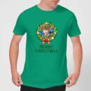 Nintendo The Legend Of Zelda Link Merry Christmas Kerstkrans Heren T-shirt Groen M Groen