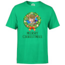 Nintendo The Legend Of Zelda Link Merry Christmas Kerstkrans Heren T-shirt Groen L Groen