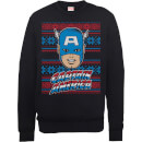 Sweat hommefemme captain america noël marvel comics noir l noir