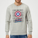 marvel-comics-captain-america-schild-weihnachtspullover-grau-xl-grau