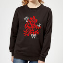 all-i-want-for-christmas-frauen-sweatshirt-schwarz-3xl-schwarz