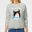 merry-catmas-frauen-sweatshirt-grau-s-grau