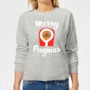 merry-pugmas-frauen-sweatshirt-grau-s-grau