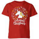 unicorn-christmas-kids-t-shirt-red-3-4-jahre-rot