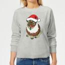 christmas-puggin-grey-women-s-sweatshirt-xl-grau