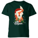 christmas-fox-hello-christmas-kids-t-shirt-forest-green-7-8-jahre-forest-green
