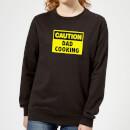 caution-dad-cooking-black-womens-sweatshirt-xl-schwarz