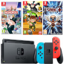 Nintendo Switch Console with Neon Red/Blue Joy-Con, The Binding of Issac, Monopoly & Ben 10