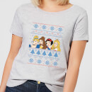 disney-princesses-christmas-faces-women-s-grey-t-shirt-m-grau