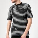 McQ Alexander McQueen Men's Dropped Shoulder Monster T-Shirt - Striped Porcelain Blu