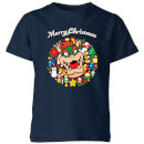 nintendo-super-mario-bowser-merry-christmas-wreath-kinder-t-shirt-navy-blau-11-12-jahre-marineblau