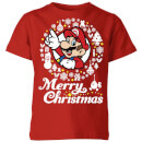 nintendo-super-mario-merry-christmas-wei-wreath-kinder-t-shirt-rot-11-12-jahre-rot