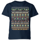nintendo-yoshi-have-a-merry-mario-christmas-kinder-t-shirt-navy-blau-3-4-jahre-marineblau