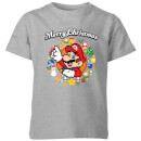 nintendo-super-mario-mario-merry-christmas-wreath-kinder-t-shirt-grau-9-10-jahre-grau